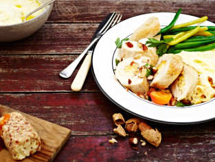 Apricot-and-almond-cream-cheese-stuffed-chicken-breasts-with-mash-and-veggies